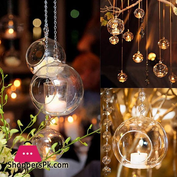 1Pcs Round Small Glass Hanging Tealight Holder