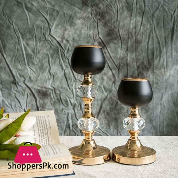 """2 Pack Gold/Black Metal with Acrylic Crystal Tealight Votive Candle Holders - 7""""/11"""""""