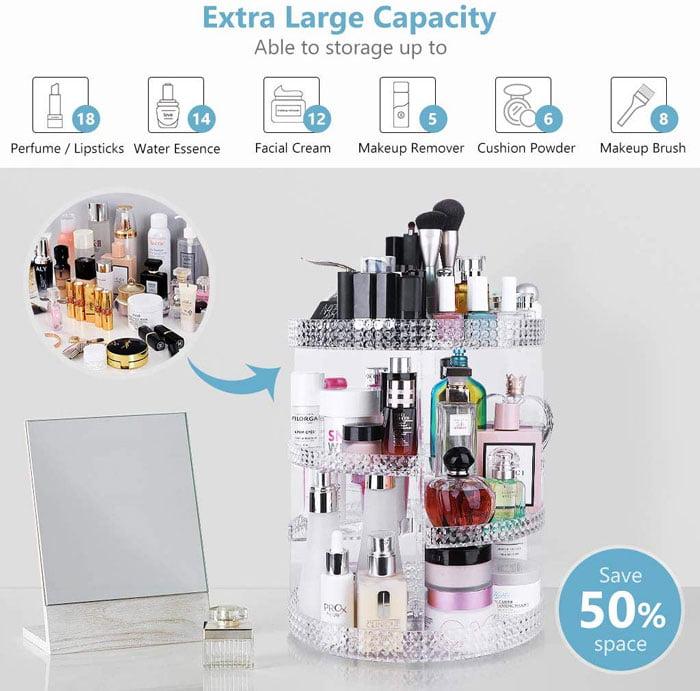 360-Degree Rotating 7 Layers Large Capacity Adjustable Multi-Function Makeup Organizer