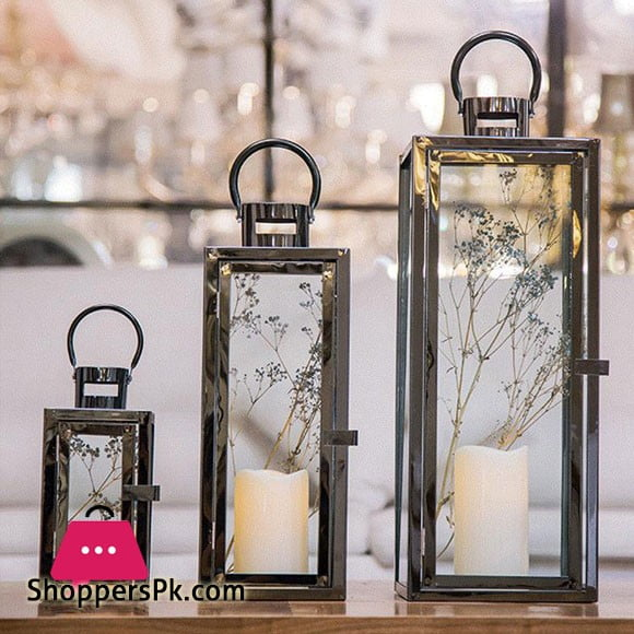 3pcs Flameless Candle Lanterns Stainless Steel Decorative Candle Lantern for Indoor Home Decoration (Rose Gold)
