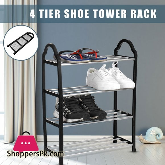 4 Tier Shoe Rack Easy Assembled Shelf Storage Organizer Stand