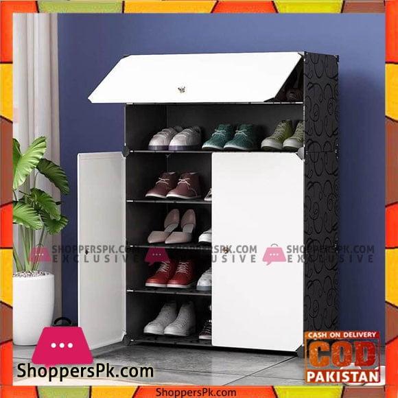 6-Tiers Shoe Rack Plastic Shoe Storage Organizer Cabinet with Doors