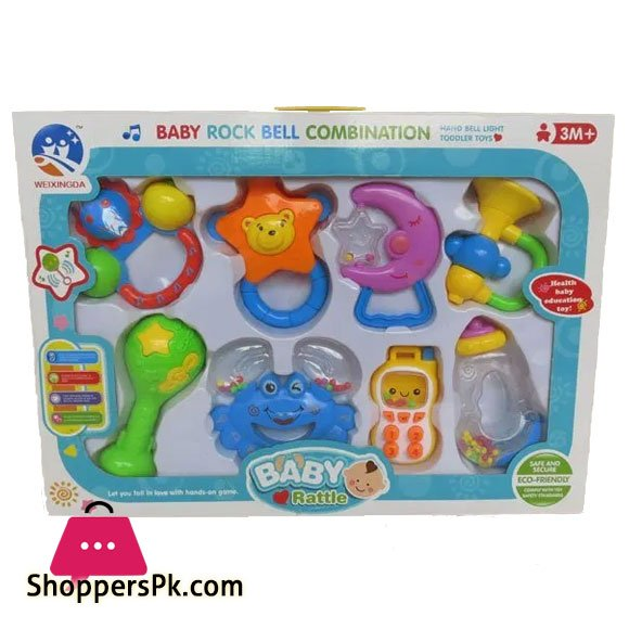 Baby/'s toys Rattles Roll 8pcs  Easy Grip Play Toy For 3M+