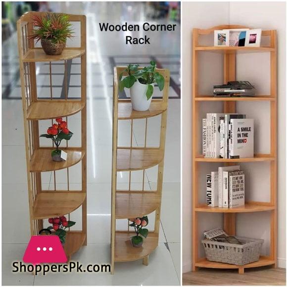Bamboo Corner Wall Shelves 5 Tier Shelf Display Stand Home Bath Storage Rack