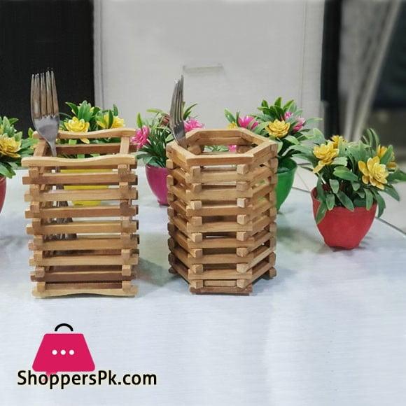 Bamboo Wood Fancy Spoon & Pen Holder