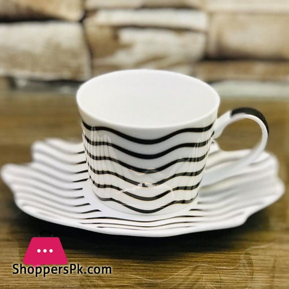 Black and White Striped Ceramic Tea Cup Saucer Coffee Mug Set of 12