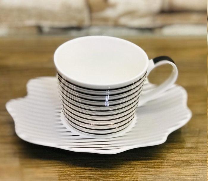 Ceramic Tea Cup Saucer Coffee Mug Gold Fine China Black and White Striped Set of 12