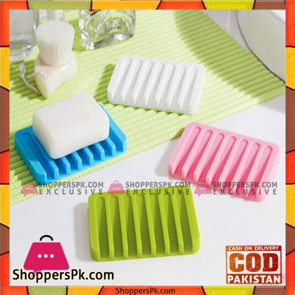 Flexible Bathroom Silicone Soap Storage Holder Dish