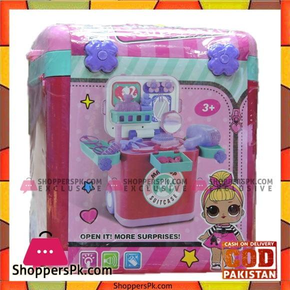Girls Playing barbie Makeup Suitcase