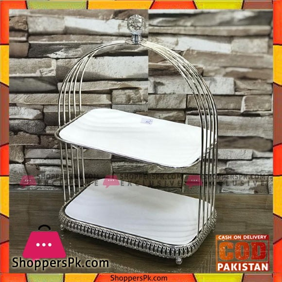 High Quality 2 Tier Wrought Iron Plated Dessert Stand Cake Stand