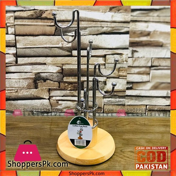 High Quality Wooden Base Stainless Steel Cup Stand