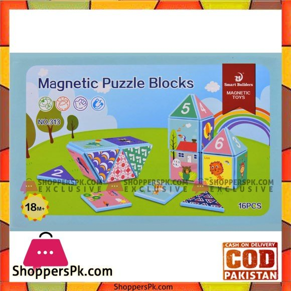 Kids Playing Magnetic Puzzle Blocks 16 Pcs