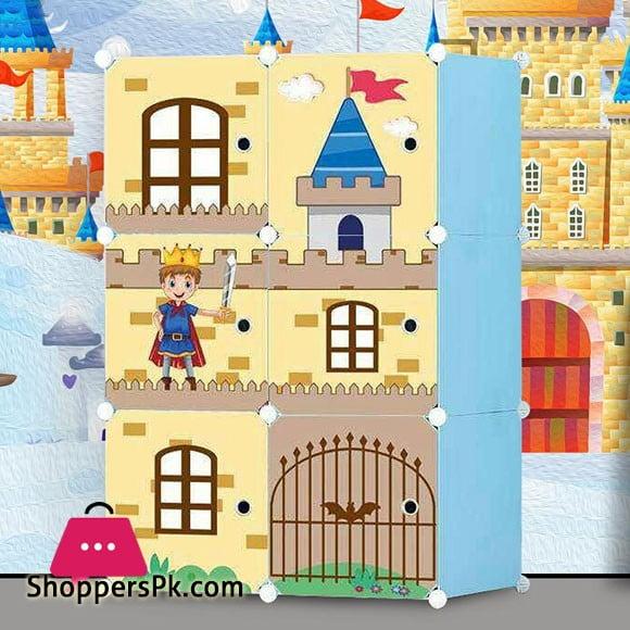 Multipurpose DIY 6 Doors Cubes Pink Castle Cabinet Wardrobe Storage Organizer