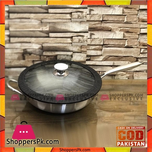 PYREX FRANCE STAINLESS STEEL WOK STIR FRY PAN WITH GLASS LID 32 - CM