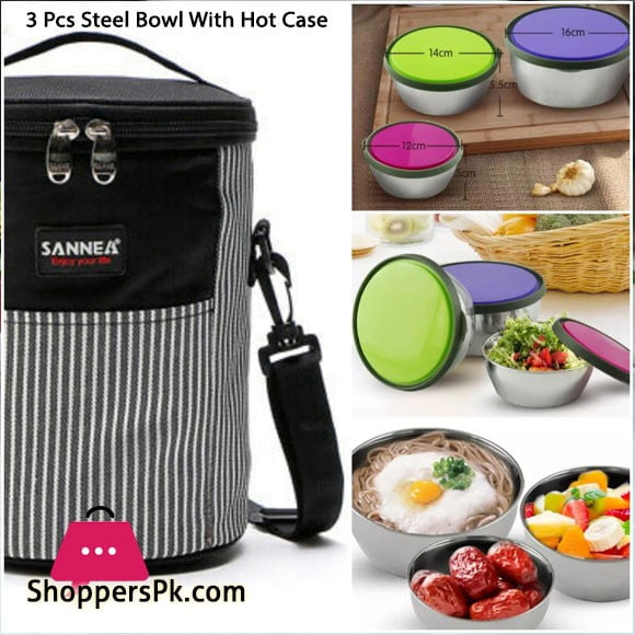 Portable Thermal Insulated Lunch Box Bag with 3 Steel Bowl