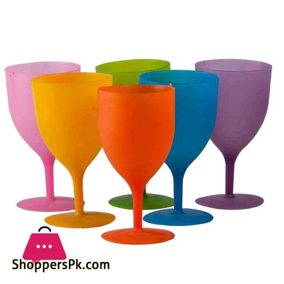 Ultimate 6 Pieces - Colorful Reusable Plastic Wine Glasses