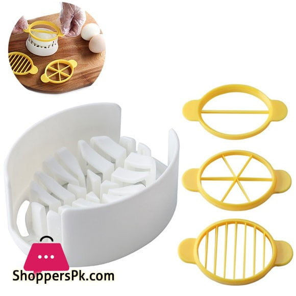 1 Set Egg Cutter 3 in 1 Multipurpose Easy to Use Egg Slicer Egg Cutting Tool 4-Pcs