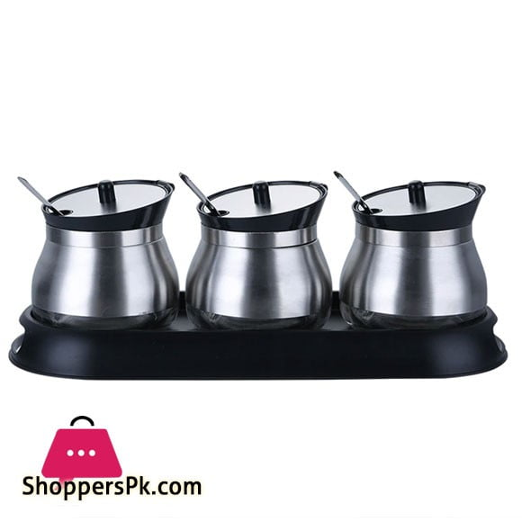 3pcs Stainless Steel Glass Kitchen Condiment Salt Sugar Herb Spice Canisters