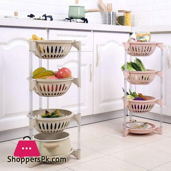 4 Tier Kitchen Plastic Fruit Basket Shelves Removable Round Baskets Fruits Vegetable Storage