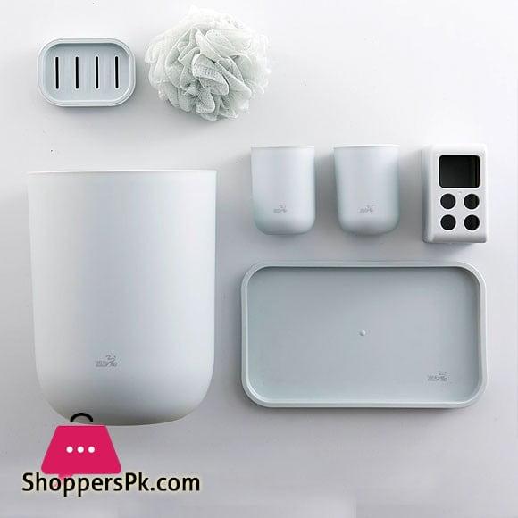 7-Piece Bathroom Set Plastic