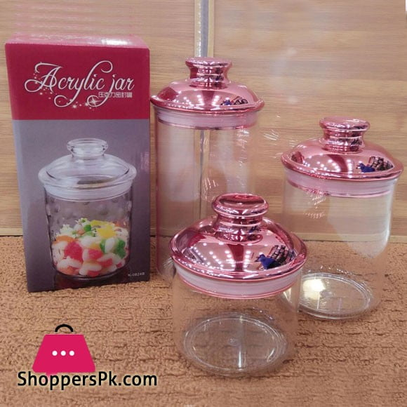 Acrylic Plastic Glass Airtight Jar Set of 3
