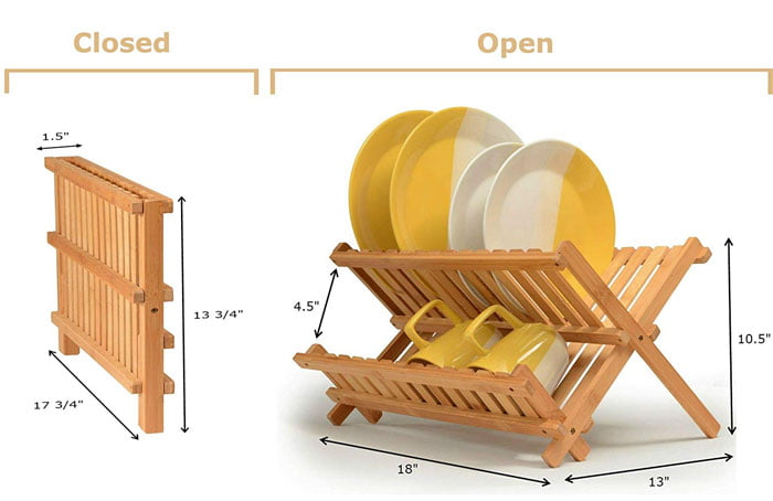 Bamboo Kitchen Compact & Foldable Dish Drainer