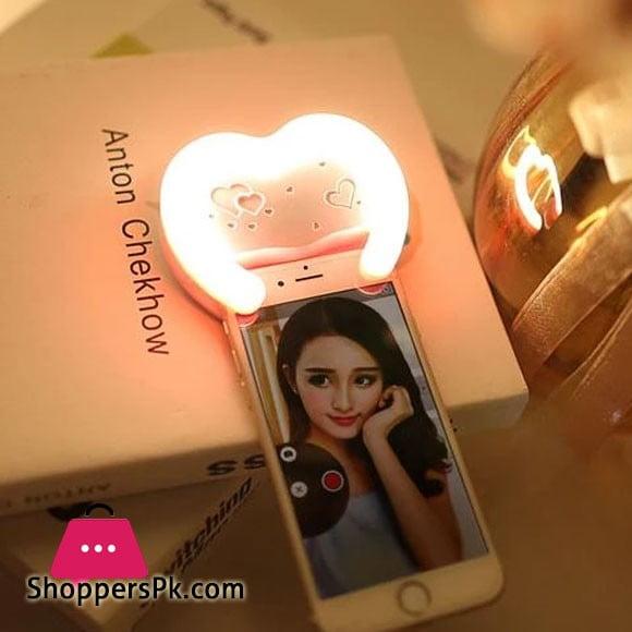 Heart-Shaped Selfie Ring Light + Mirror on The Back