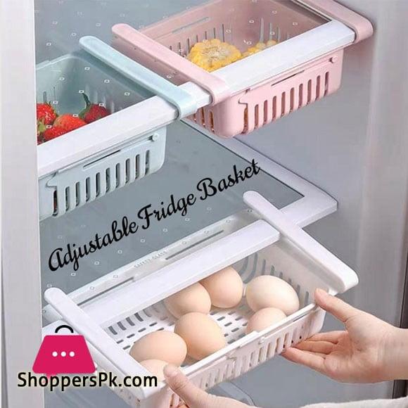 Kitchen Refrigerator Adjustable Storage Rack Fridge Freezer Shelf Holder Pull-out Drawer Organizer