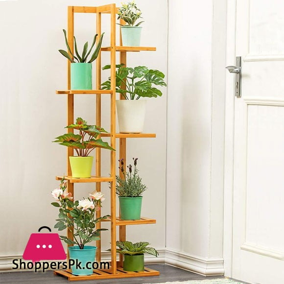 Multi-Tiered Flower Pot Storage Rack Wooden Plant Rack 6 Layer Display Shelf Rich and Colorful Use 17.7x8.7x49.2in