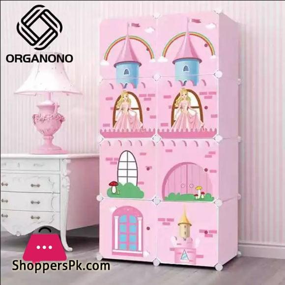 Multipurpose Eco Friendly DIY 8 Doors Cubes Princess Pink Castle Clothes Toy Storage Cabinet