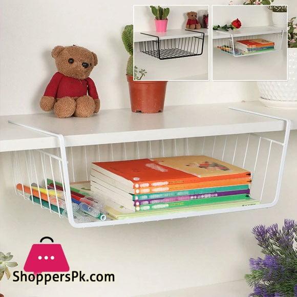Stainless Steel Under Shelf Basket Rack - White