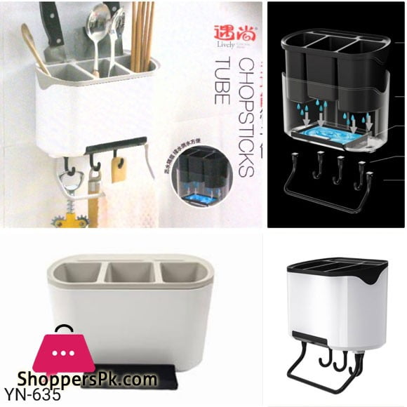 Wall Mounted Kitchen Utensils Spoon Cutlery Holder Multi functional Storage Rack With Hooks