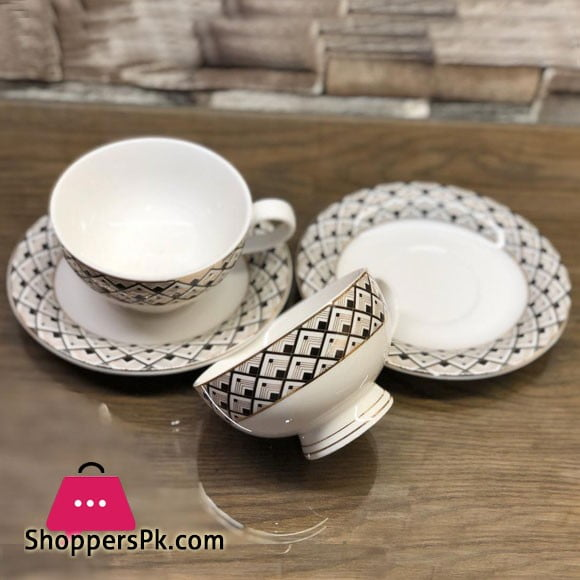 Beautiful Fine Bone China Cup and Saucer 12 Pcs Set - H-10