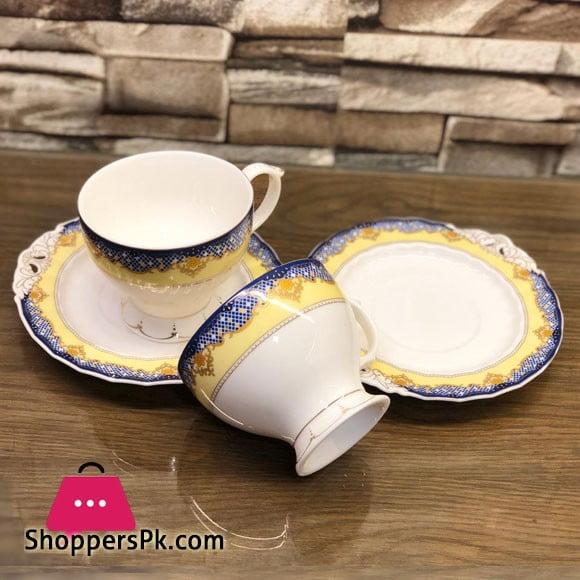 Beautiful Fine Bone China Cup and Saucer 12 Pcs Set - H-12