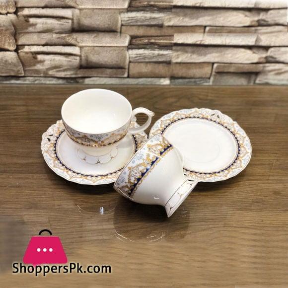 Beautiful Fine Bone China Cup and Saucer 12 Pcs Set - H-13