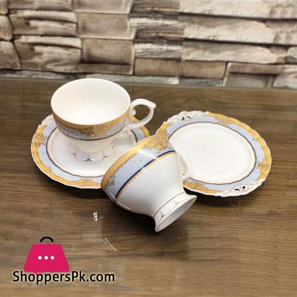 Beautiful Fine Bone China Cup and Saucer 12 Pcs Set - H-14