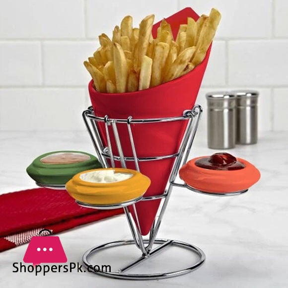 Ceramic Dipping Cone Fries Stand Red Large