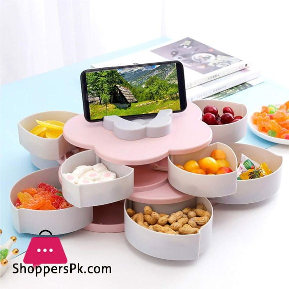 Creative Petal Rotating Fruit Container Seeds Snacks Nut Candy Storage Boxes Plastic Fruit Plate Two Layer