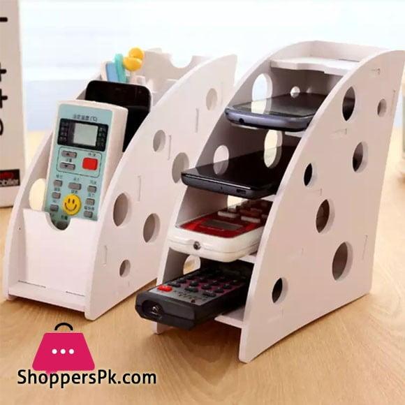 DIY Wooden Desk Remote Mobile Phone Holder Stand Stationery Organizer