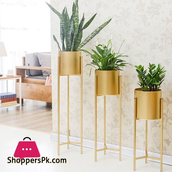 Golden Iron Stand Succulent Vase Grass Metal Flower Pot 3-Pcs