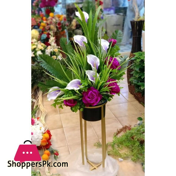 Home Deco Gold Metal Shelf Artificial Flower Arrangement With Pot