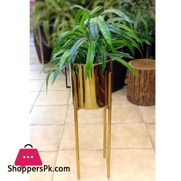 Home Deco Gold Metal Shelf with Artificial Plants Gold Pot