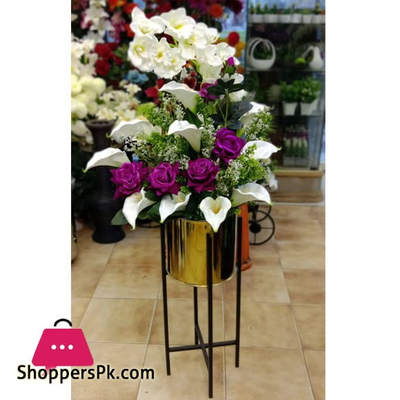 Home Deco Metal Shelf Artificial Flower Arrangement With Gold Pot