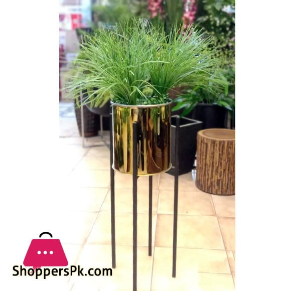 Home Deco Metal Shelf Artificial Plants with Gold Pot