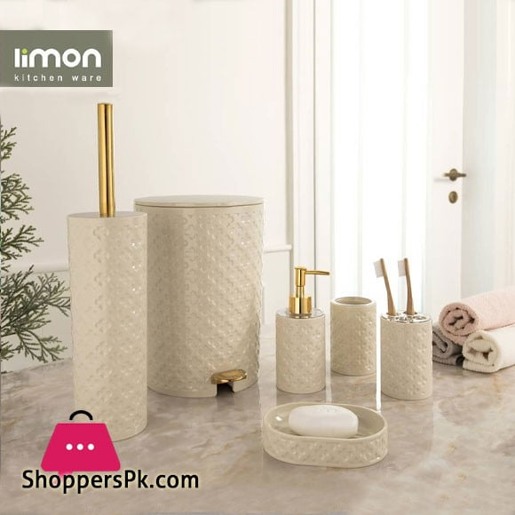 Limon Plastic Bathroom Set Of 6 - ( Vanilla )