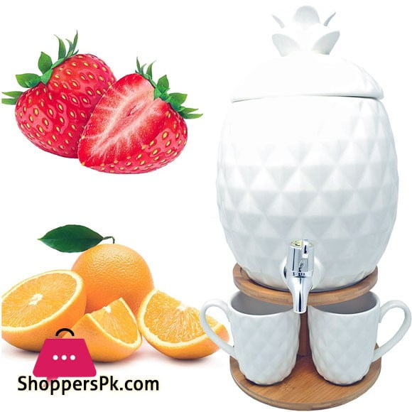 Pineapple Drink Tap Juice Dispenser with 4 Cups with Bamboo Stand
