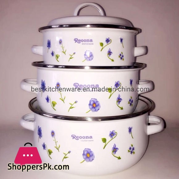 Reona Enamel Coating Set Casserole With Lid - 3 Pcs