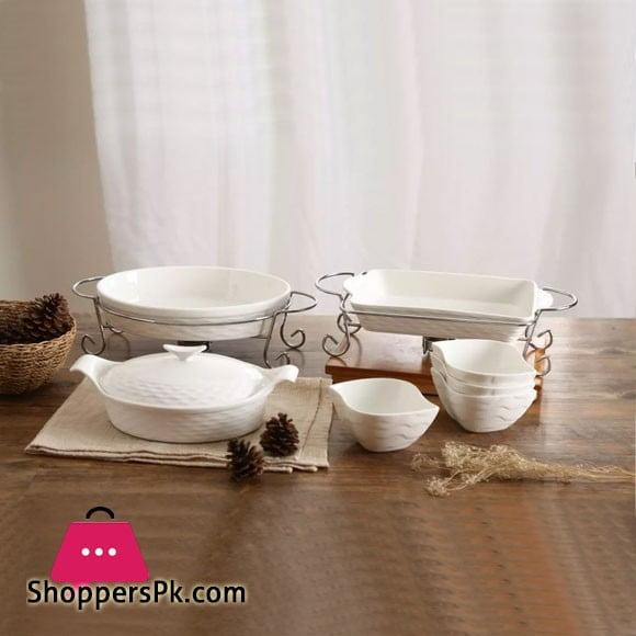 Solecasa 10 Pcs Serving Set-Embossed-White