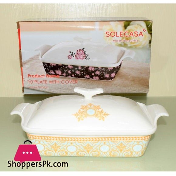 Solecasa Serving Dish With Ceramic Lid - Heat Proof - Material:Ceramic - 10 Inches