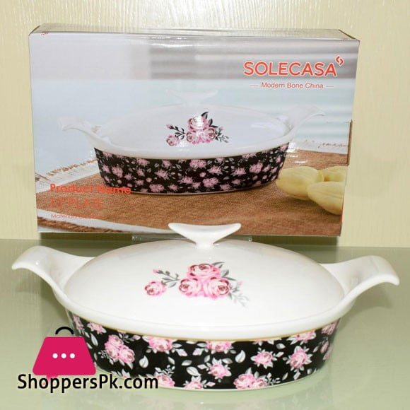 Solecasa Serving Dish With Ceramic Lid - Heat Proof - Material:Ceramic - 10 Inches